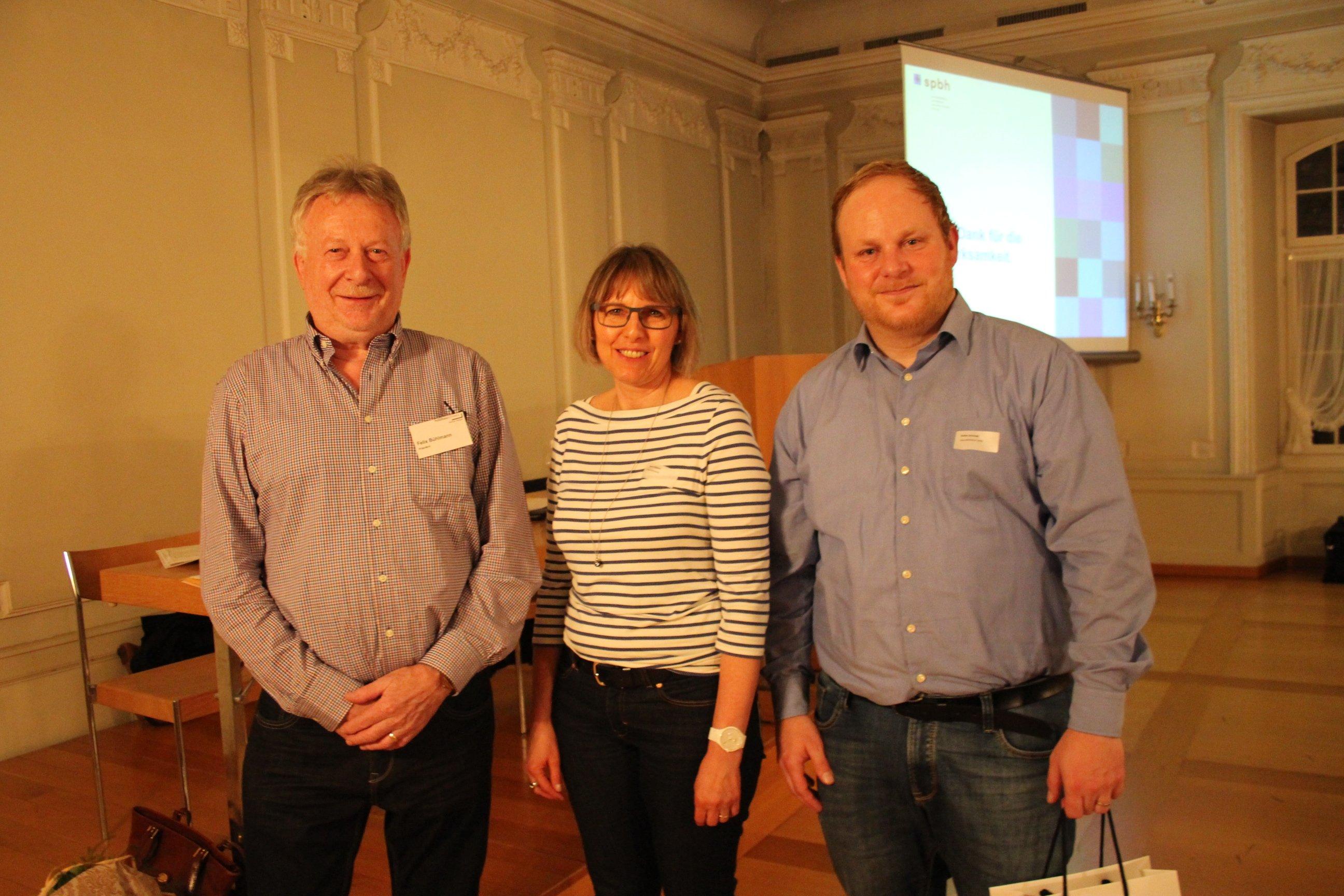 Felix Bühlmann (Präsident), Doris Elsasser (Sekretariat) und Stefan Strausak (v.l.n.r.)
